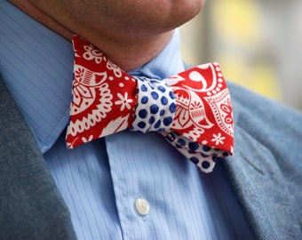 Blue Polka Dot/Red Folk Pattern Bow Tie
