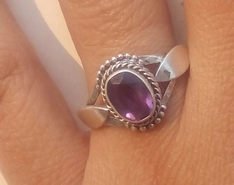 Amethyst  ring, Amethyst Silver Ring, Silver Amethyst Ring,92.5% solid sterling Silver Ring, Sterling Silver Ring, size 3-12(USA Standard)