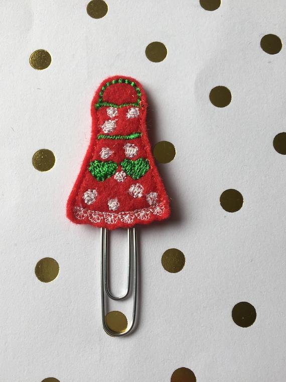 Apron planner Clip/Planner Clip/Bookmar. Christmas planner clip. holiday planner clip.
