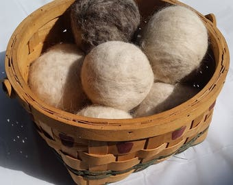 Single Dryer balls -  Alpaca fiber - Alternative dryer sheets - reusable - eco friendly - green - no chemicals - Natural or dyed fiber