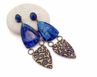 Blue gold earrings Dangle earrings Polymer earrings Statement earrings Stone earrings Polymer clay jewelry Fashion earrings Gift for her