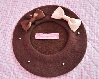 Brown Chocolate Double Bow Kawaii Lolita Beret