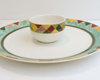 Discontinued Southwestern Style Chip and Dip Serving Set in Japora by Royal Doulton