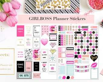 GIRL BOSS Lady Boss Printable Planner Stickers | Mambi Happy Planner | Erin Condren | Gold Foil Quotes | Scrapbooking | Journaling | Kikki K