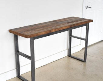 Industrial Reclaimed Patchwork Console Table | Industrial Sofa Table