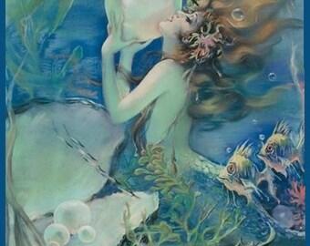 9 Art Deco Mermaid Sea Tag