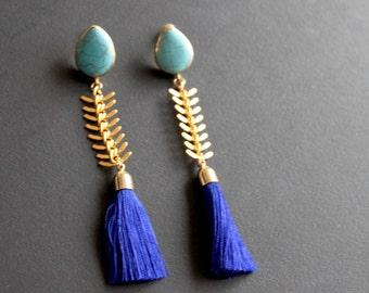 I Dream Of Jeannie. Gold Plate Turquoise, Fishbone Chain, Cobalt Blue Silk Tassel Earrings.