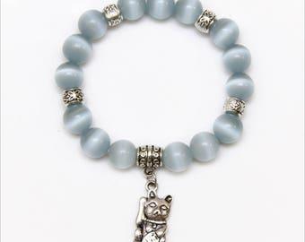 Gray Cats Eye Bracelet - Maneki Neko Bracelet - Lucky Cat Bracelet - Kitty Bracelet - Kawaii Bracelet - Fortune Amulet - Japanese Talisman