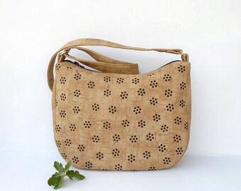 Leather crossbody bag, zipper hobo bag, Leather crossbody purse, bag geometric print, vegan handbag,beige crossbody bag,cork pattern day bag