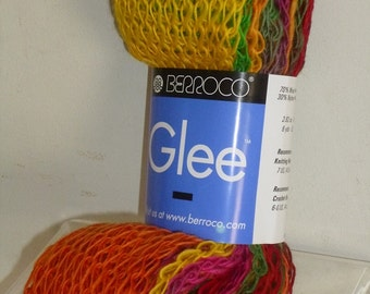 Berroco GLEE Yellow/Orange/Green Multcolor Wool Blend Yarn 1 Hank/9514