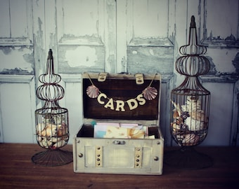 Wedding Card Holder-Wedding Card Box-Beach wedding-Trunk-Suitcase-Wood trunk-Wedding Card Box and card sign