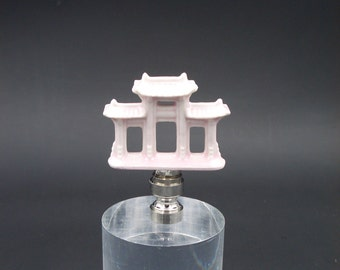Custom Lamp Final Featuring a Miniature Shell Pink Chinese Gate.