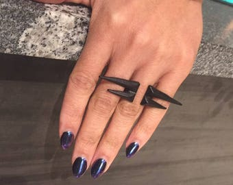 Spiked Statement Ring in Matte Black and Yello Gold
