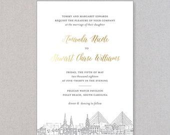 GOLD FOIL Wedding Invitations with Charleston Skyline | Charleston Suite | SAMPLE