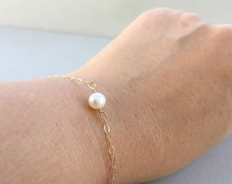 Single Pearl Bracelet, Simple Freshwater White Pearl Bracelet, Delicate 14K Gold Filled Real Pearl Bracelet, June Birthstone