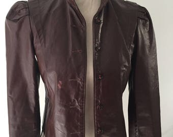 REDUCED!!   Vintage Women's Small Leather Jacket Wine/Brown Steampunk Mandarin Collar