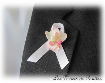 Buttonhole fuchsia and white Orchid version tied Ribbon