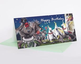 Birthday Card - wombat, echidna & other Australian animals