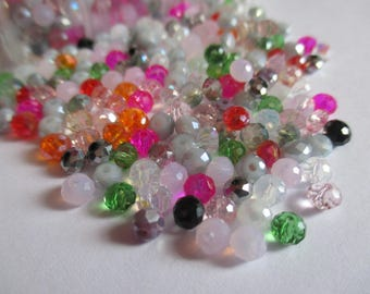 set of 100 faceted beads 4 mm mixed colors