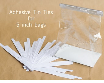 100 - Adhesive Tin Ties for 5-inch Bags - Pressure Sensitive Peel and Stick Closure for Paper & Plastic Gusset Bags