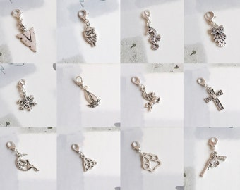 Tibetan/Antique Silver Clip on Lobster Clasp Charm Pendant, Wise Owl, Seahorse, Snowflake, Flying Horse, Cross, Fairy Moon, Dog paw.....