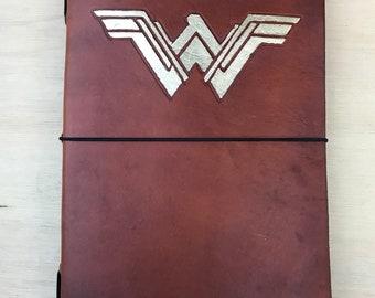 Leather Traveler's Style Journal/Notebook Refillable - Modern Wonder Woman Style Metallic Leafing