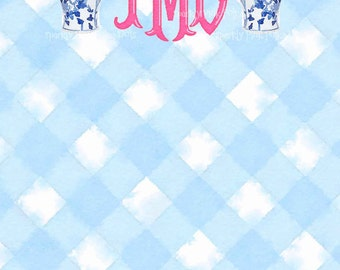 Ginger Jar Gingham Monogrammed Notepads Blue White Pink Holiday Preppy Chinoiserie Palm Beach Vase Chinese Gift Custom Personalized