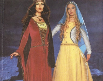 Simplicity 9758 MEDIEVAL ROYALTY COSTUMES Andrea Schewe Pattern Gown Cloak Veil Size 14 - 20 ©2001 English & Spanish Instructions