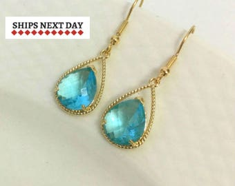 Aquamarine Teardrop Earrings, 925 Silver Birthstone Earrings, March Birthstone, Gift for Her, Birthday Gift, Light Azure Earrings, Bridal