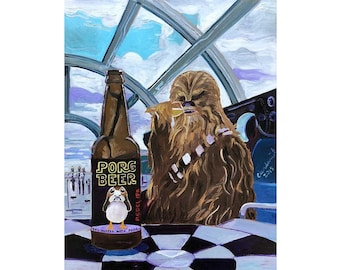 Star Wars Funny Chewbacca Beer Painting, Porg Art, Millennium Falcon Poster, Art for Men, Rebel Gift for Him, Anniversary Gift for Boyfriend