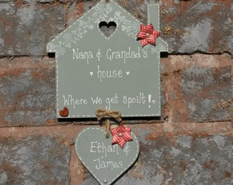 Personalised house shaped grandparents plaque, grandparents gift, nanna gift, granny gift, grandma gift, mamma, grandad gift, grandpa gift,
