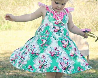 Banksia Play Dress, PDF Dress Pattern, Ruffled Dress, Girls Dress Pattern Sizes 12M to 8