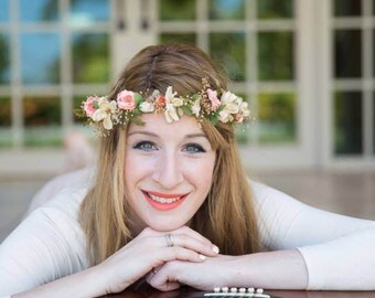 dried silk flower crown set of 2 hair wreaths peach Rustic chic halo wedding accessories champagne summer headband photo prop