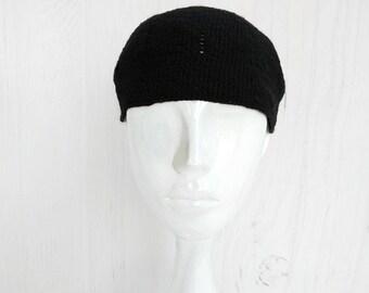 Hemp hat mens Kufi skull cap Crochet hat for men Kufi beanie hat summer  Organic black hat men