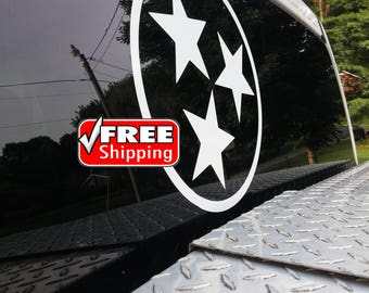 "11.25"" TN Tri-Star, Tristar, Tennessee, Rocky Top, Tennessee Flag, Tennessee Decal, Tennessee Tri-Star Decal, Car Decal, Window Vinyl, AD111"