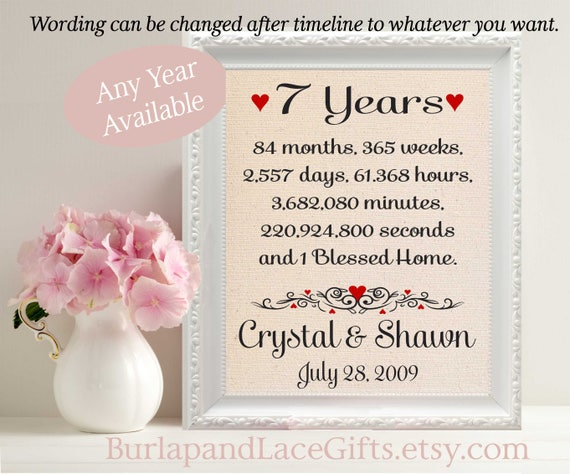 Gifts For 7th Wedding Anniversary: 7th Anniversary 7 Husband Gift To Wife Framed Gift Burlap