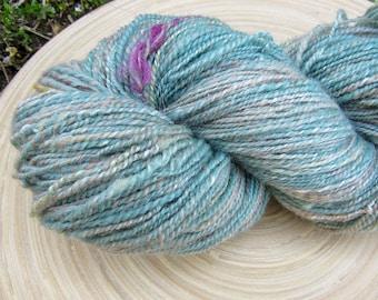 Handspun yarn - merino bamboo banana mix fibre - 2 ply - 110 grams 345 yards