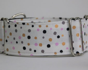 "Greyhound White Confetti 2"" Martingale Collar"