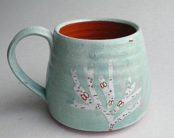 Sea Green Seaweed Mug - wheel thrown, handmade terracotta pottery with botanical coastal illustration. OOAK. Gift