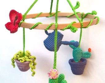 Cactus baby mobile, floral mobile, succulent plants baby mobile, flowers mobile, cactus baby shower