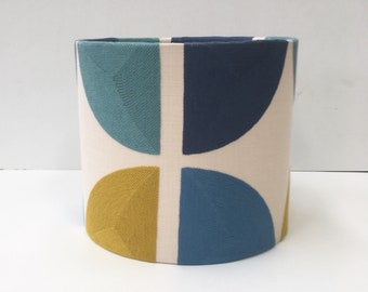 Scandinavian style embroidered circle print lampshade in mustard and blue