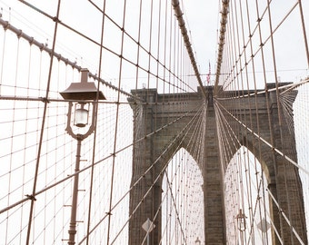 New York City Photography, Brooklyn Prints, Iconic NYC Art, Architecture Photography, Industrial Wall Decor, Crossing the Brooklyn Bridge