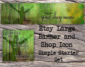 ETSY LARGE COVER and Shop Icon-Mystical Fantasy Cover Photo-Premade Nature Etsy Set-New Age Etsy-Yoga Large Cover-Bamboo, Reiki, #126