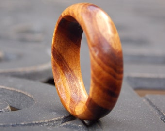 On SALE Custom made Tigerwood Men's or Woman's wood ring any size and Width Natural wood ring Exotic wood ring Organic wooden ring Cool ring