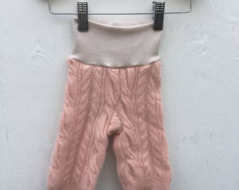 0-3 Pink Cashmere Cable knit Longies