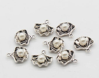 4 Pcs Shell Charms With Pearl Antique Silver Tone 2 Sided 15x15mm - YD1265