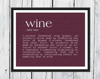 Wine Definition Print wine decor 8x10