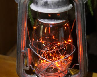 Battery Operated LED Fairy Lights Lantern Table Lamp, RUSTY CORRODED Metal Antiqued , Hurricane Lantern, Night Light, Rustic Lantern Light