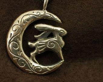 Moon Bunny bronze pendant necklace