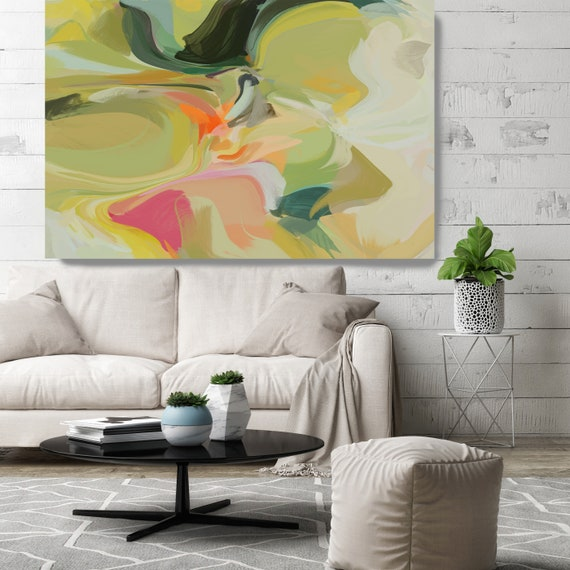"""Sleep Secrets, Red Green Abstract painting Original Acrylic Abstract Art on Canvas, Fine Art Canvas Print Size up to 80"""" by Irena Orlov"""